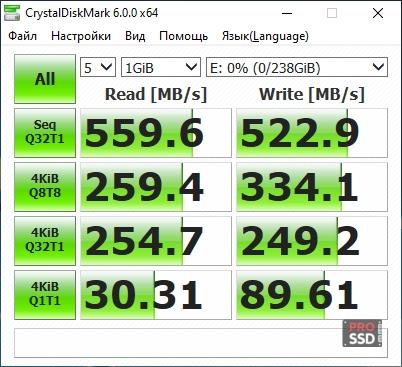 CDM test SSD PATRIOT P200 P200S256G25 256Gb