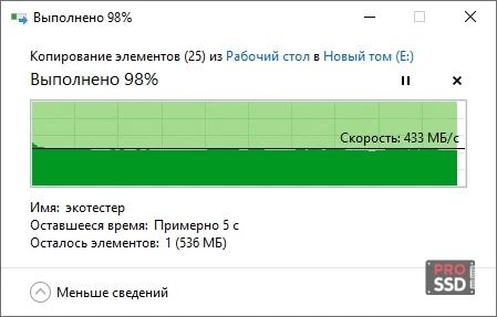 copy test SSD PATRIOT P200 P200S256G25 256Gb